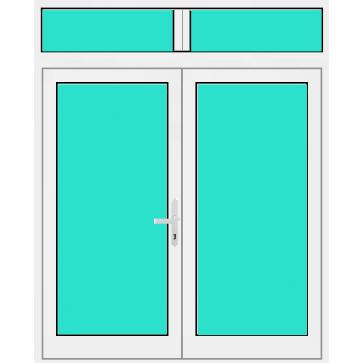 Aluminium Haustür 1 Flügelig mit mit Oberlicht & Seitenteilen Glasfüllung