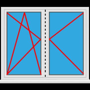 Kunststoff Balkontür 2 Flügelig Dreh Kipp - Dreh