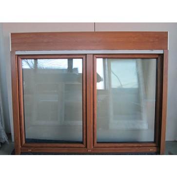 Kunststofffenster Golden Oak 2 Flügler mit Aufsatzrollladen Breite 1980 x Höhe 1560 mm