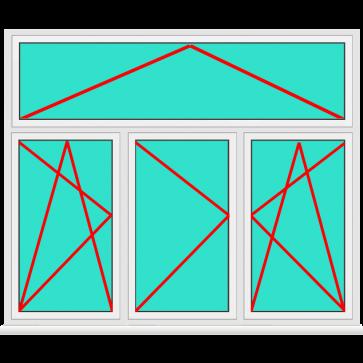 Aluminium Fenster 3 Flügelig Dreh Kipp - Dreh - Dreh Kipp mit Oberlicht Kipp