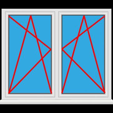 Kunststofffenster 2 Flügelig Dreh Kipp - Dreh Kipp