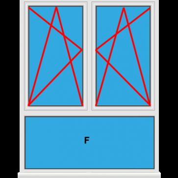 Kunststofffenster 2 Flügelig Dreh Kipp - Dreh Kipp mit Unterlicht Fest im Blendrahmen