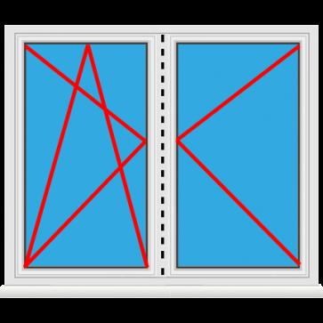 Kunststofffenster 2 Flügelig Dreh Kipp - Dreh als Stulp