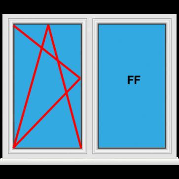 Kunststofffenster 2 Flügelig Dreh Kipp - Fest im Flügel