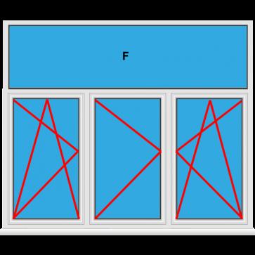 Kunststofffenster 3 Flügelig Dreh Kipp - Dreh - Dreh Kipp mit Oberlicht Fest im Blendrahmen