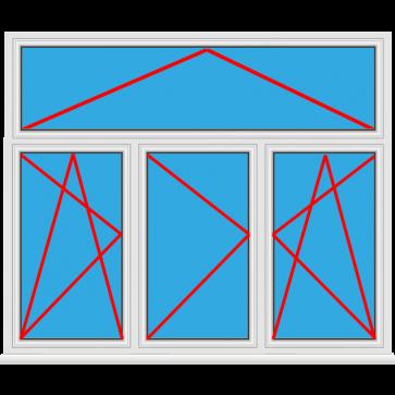 Kunststofffenster 3 Flügelig Dreh Kipp - Dreh - Dreh Kipp mit Oberlicht Kipp