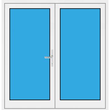Kunststoff Haustür 2. Flügelig mit Glasfüllung
