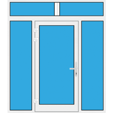 Kunststoff Haustür mit Seitenteil links und rechts und Oberlicht mit Glasfüllung