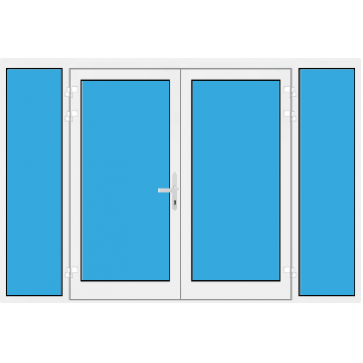 Kunststoff Haustür 2 Flügelig mit Seitenteil links und rechts mit Glasfüllung