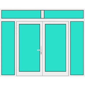 Aluminium Haustür 2 Flügelig mit Seitenteil links und rechts und Oberlicht mit Glasfüllung
