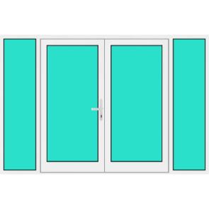 Aluminium Haustür 2 Flügelig mit Seitenteil links und rechts mit Glasfüllung