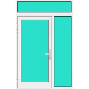 Aluminium Haustür mit Seitenteil rechts und Oberlicht mit Glasfüllung