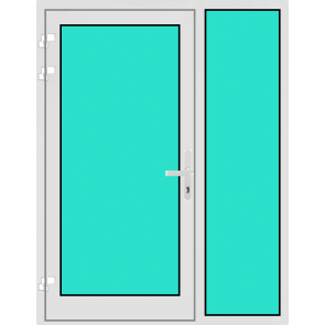 Aluminium Haustür mit Seitenteil rechts mit Glasfüllung