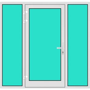 Aluminium Haustür mit Seitenteil links und rechts mit Glasfüllung