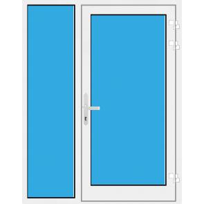 Kunststoff Haustür mit Seitenteil links mit Glasfüllung