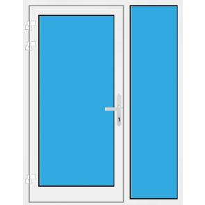 Kunststoff Haustür mit Seitenteil rechts mit Glasfüllung