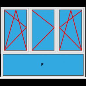 Kunststofffenster 3 Flügelig Dreh Kipp - Dreh - Dreh Kipp mit Unterlicht Fest im Blendrahmen