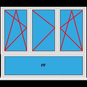 Kunststofffenster 3 Flügelig Dreh Kipp - Dreh - Dreh Kipp mit Unerlicht Fest im Flügel
