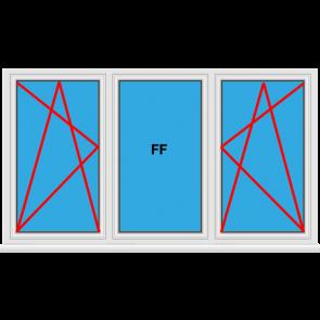 Kunststofffenster 3 Flügelig Dreh Kipp - Fest im Flügel - Dreh Kipp