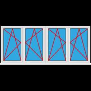 Kunststofffenster 4 Flügelig Dreh Kipp - Dreh Kipp - Dreh Kipp - Dreh Kipp