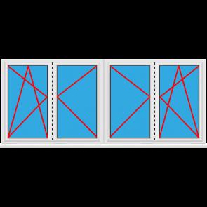 Kunststofffenster 4 Flügelig Dreh Kipp - Dreh Stulp - Dreh Stulp - Dreh Kipp