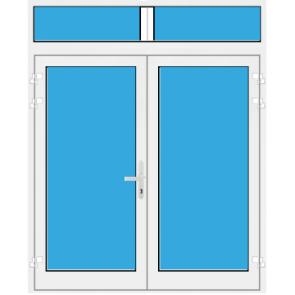 Kunststoff Haustür 2 Flügelig mit Oberlicht mit Glasfüllung