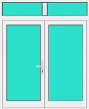 Aluminium Haustür 2 Flügelig mit Oberlicht mit Glasfüllung
