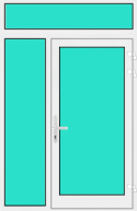 Aluminium Haustür mit Seitenteil links und Oberlicht mit Glasfüllung