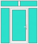 Aluminium Haustür mit Seitenteil links und rechts und Oberlicht mit Glasfüllung