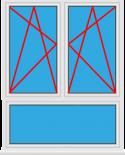 Kunststofffenster 2 Flügelig Dreh Kipp - Dreh Kipp mit Unterlicht Fest im Flügel