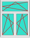 Aluminium Fenster 2 Flügelig Dreh Kipp - Dreh Kipp mit Oberlicht Dreh Kipp