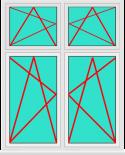 Aluminium Fenster 2 Flügelig Dreh Kipp - Dreh Kipp mit Oberlicht Dreh Kipp - Dreh Kipp