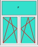 Aluminium Fenster 2 Flügelig Dreh Kipp - Dreh Kipp mit Oberlicht Fest im Blendrahmen