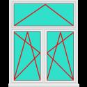 Aluminium Fenster 2 Flügelig Dreh Kipp - Dreh Kipp mit Oberlicht Kipp