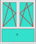 Aluminium Fenster 2 Flügelig Dreh Kipp - Dreh Kipp mit Unterlicht Fest im Blendrahmen