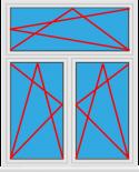 Kunststofffenster 2 Flügelig Dreh Kipp - Dreh Kipp mit Oberlicht Dreh Kipp