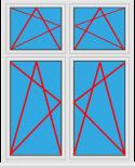 Kunststofffenster 2 Flügelig Dreh Kipp - Dreh Kipp mit Oberlicht Dreh Kipp - Dreh Kipp