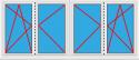 Kunststofffenster 4 Flügelig Dreh Kipp - Dreh Stulp - Dreh Stulp - Dreh Kipp (2 Elemente)