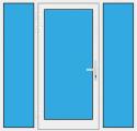 Kunststoff Haustür mit Seitenteil links und rechts mit Glasfüllung