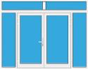 Kunststoff Haustür 2 Flügelig mit Seitenteil links und rechts und Oberlicht mit Glasfüllung
