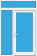 Kunststoff Haustür mit Seitenteil links und Oberlicht mit Glasfüllung