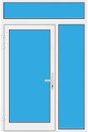 Kunststoff Haustür mit Seitenteil rechts und Oberlicht mit Glasfüllung