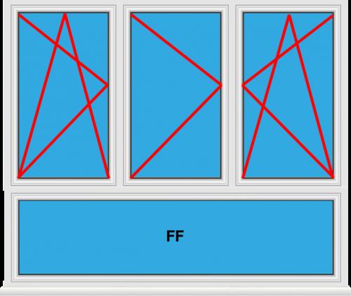 Kunststofffenster 3 Flügelig Dreh Kipp - Dreh - Dreh Kipp mit Unterlicht Fest im Flügel