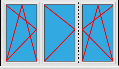 Kunststofffenster 3 Flügelig Dreh Kipp - Dreh als Stulp - Dreh Kipp