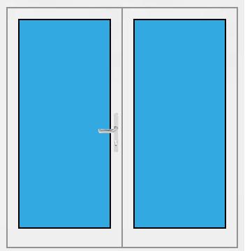 Kunststoff Haustür 2 Flügelig mit Glasfüllung