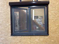 MFZ Innen Ausstellung - 2-flügliges Kunststofffenster Anthrazitgrau mit Vorbau Rollladen & Insektenschutz