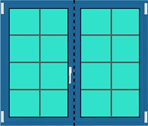 Aluminium Balkontür 2 Flügelig Dreh Kipp - Dreh