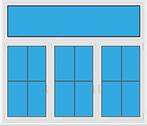 Kunststofffenster 3 Flügelig Dreh Kipp mit Oberlicht Dreh